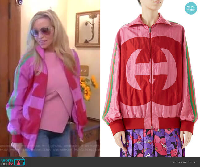 Interlocking-G Technical Nylon Jacket by Gucci worn by Camille Grammer  on The Real Housewives of Beverly Hills