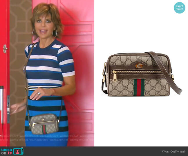Ophidia Small GG Supreme Canvas Crossbody Bag by Gucci worn by Lisa Rinna (Lisa Rinna) on The Real Housewives of Beverly Hills