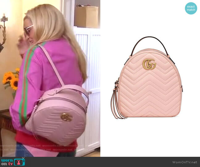 GG Marmont Leather Backpack by Gucci worn by Camille Grammer  on The Real Housewives of Beverly Hills