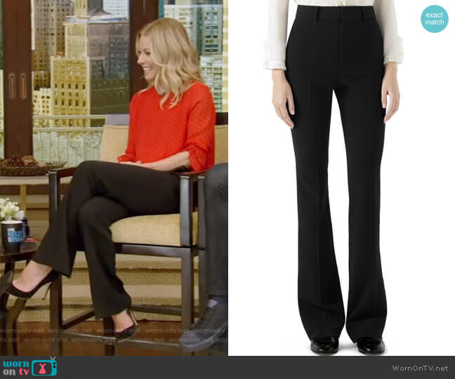 Stretch Cady Skinny Flare Pants by Gucci worn by Kelly Ripa (Kelly Ripa) on Live with Kelly & Ryan