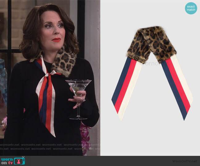 Scarf With Leopard Print Fur by Gucci worn by Karen Walker (Megan Mullally) on Will & Grace