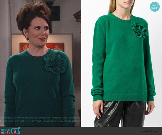 Flower Detail Sweater by Gucci worn by Karen Walker (Megan Mullally) on Will & Grace