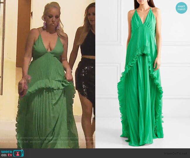 Ruffled plissé-chiffon maxi dress by Halston Heritage worn by Margaret Josephs  on The Real Housewives of New Jersey