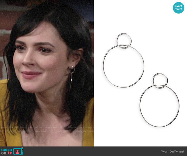 Halogen Double Circle Drop Earrings worn by Tessa Porter (Cait Fairbanks) on The Young & the Restless