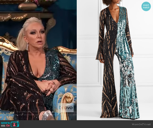 Tiger-Print Sequined Tulle Jumpsuit by Halpern worn by Margaret Josephs  on The Real Housewives of New Jersey