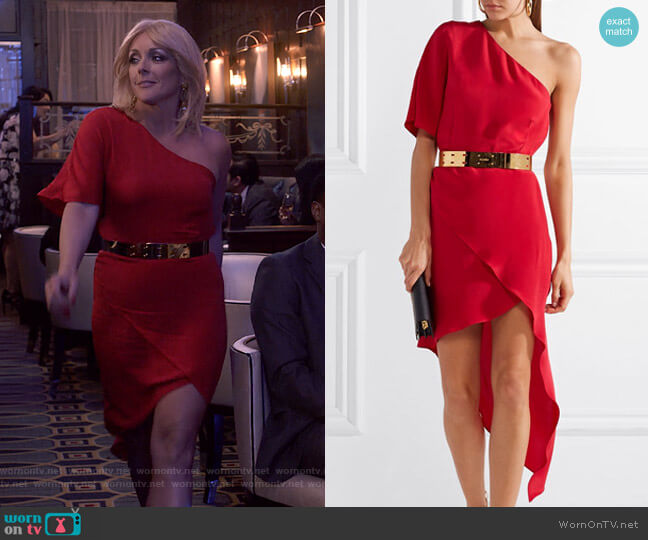 Marta Dress and Erin Gold-Tone Belt by Haney worn by Jacqueline Voorhees (Jane Krakowski) on Unbreakable Kimmy Schmidt