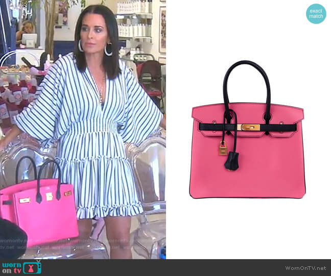 Birkin 30 Bag HSS in Rose Lipstick by Hermes worn by Kyle Richards  on The Real Housewives of Beverly Hills