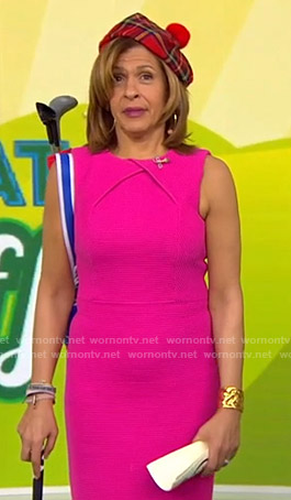 Hoda's pink ribbed dress on Today