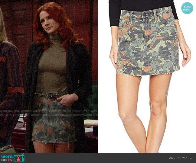 Hudson The Viper Camo Cutoff Denim Miniskirt worn by Sally Spectra (Courtney Hope) on The Bold & the Beautiful