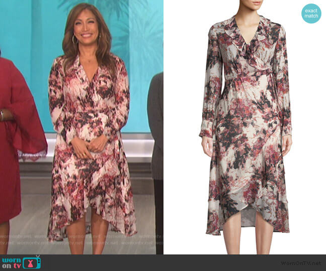 Garden Ruffle Wrap Dress by IRO worn by Carrie Inaba (Carrie Inaba) on The Talk