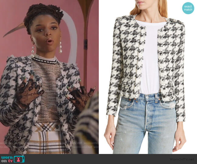 Houndstooth Tweed Jacket by IRO worn by Jazlyn Forster (Chloe Bailey) on Grown-ish