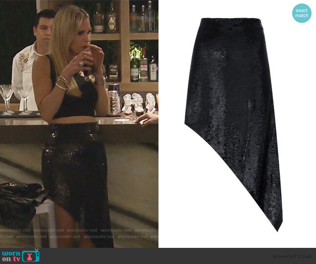 Asymmetric Sequin Skirt by IRO worn by Jackie Goldschneider  on The Real Housewives of New Jersey