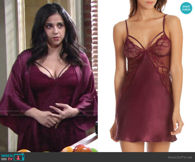 In Bloom by Jonquil Burgundy Chemise worn by Mia Rosales (Noemi Gonzalez) on The Young & the Restless