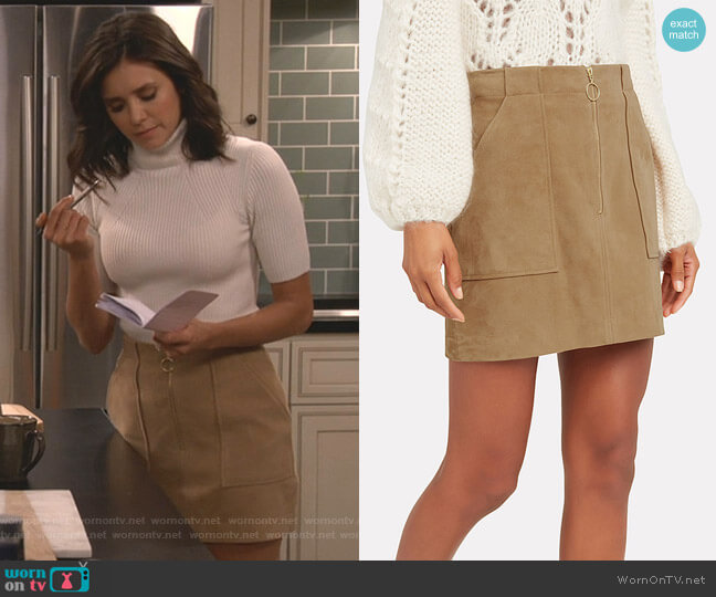Magda Suede Mini Skirt by Intermix worn by Clem (Nina Dobrev) on Fam