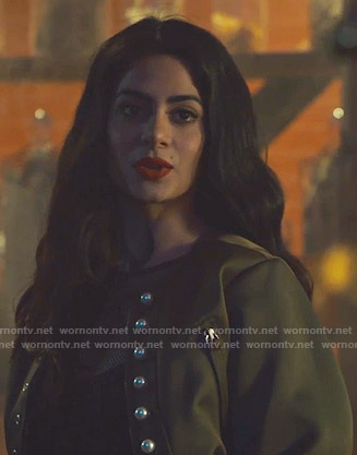 Isabelle's khaki bomber jacket with pearl buttons on Shadowhunters
