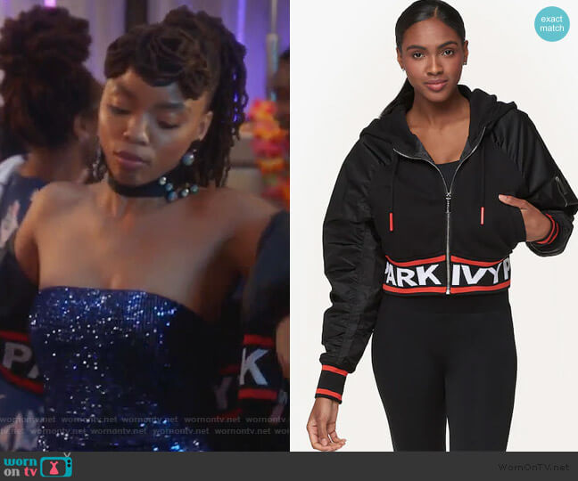 Flatknit Hooded Bomber Jacket by Ivy Park worn by Jazlyn Forster (Chloe Bailey) on Grown-ish