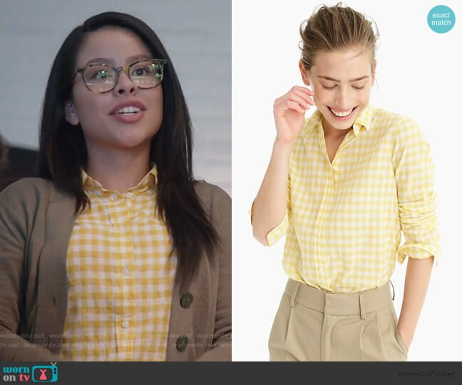 Classic-fit boy shirt in crinkle gingham by J. Crew worn by Mariana Foster (Cierra Ramirez) on Good Trouble