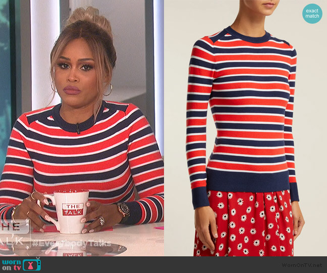 Peachskin Striped Cotton-blend Sweater by Joostricot worn by Eve  on The Talk