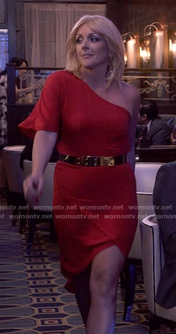 Jacqueline's red one-shoulder asymmetric dress on Unbreakable Kimmy Schmidt