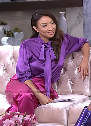 Jeannie's purple blouse and pink satin pants on The Real