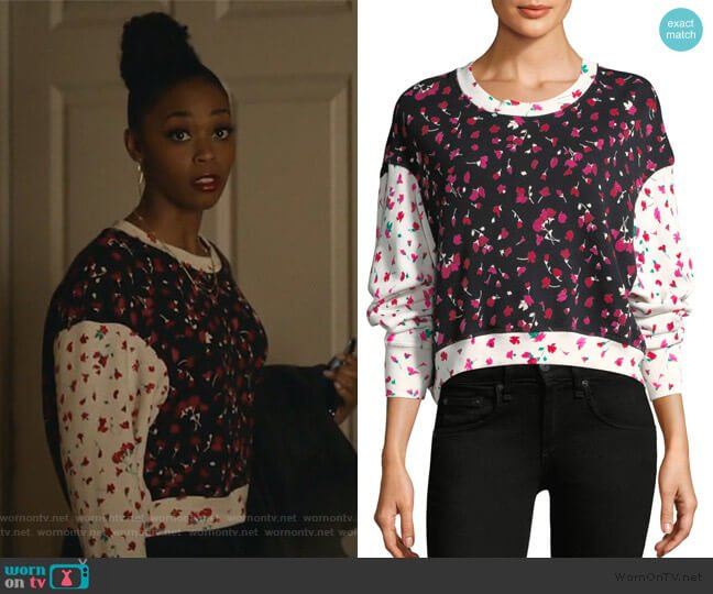 Caleigh Floral Sweatshirt by Joie worn by Anissa Pierce (Nafessa Williams) on Black Lightning