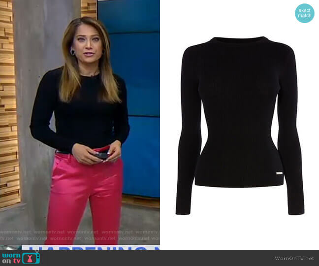 Crew-Neck Ribbed Jumper by Karen Millen worn by Ginger Zee  on Good Morning America