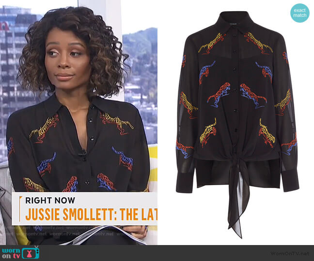 Embroidered Tiger Blouse by Karen Millen worn by Zuri Hall  on E! News