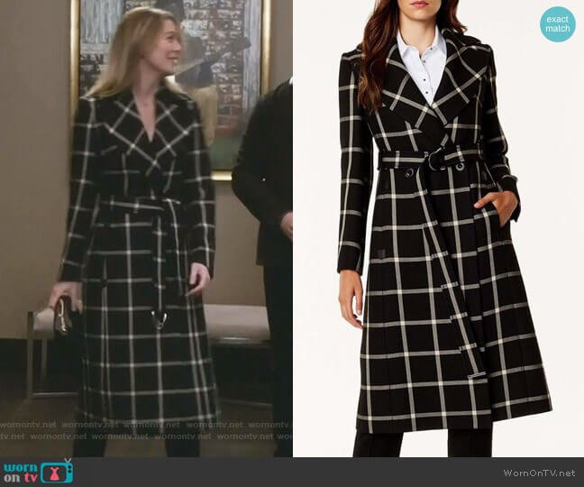 Large Check Midi Coat by Karen Millen worn by Meredith Grey (Ellen Pompeo) on Greys Anatomy