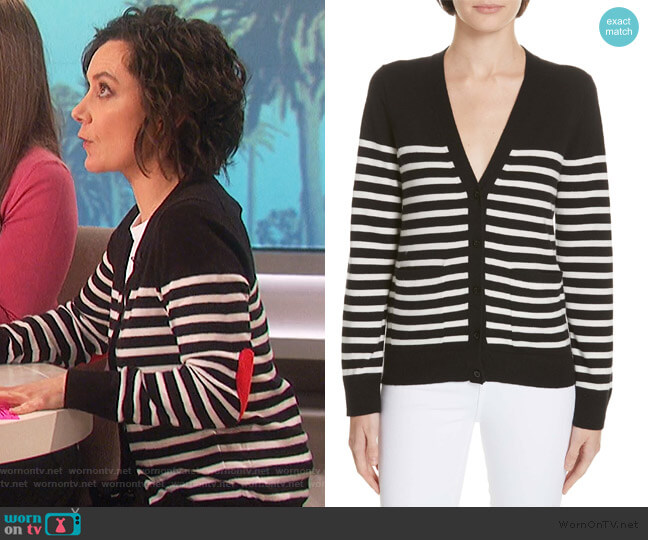heart patch stripe cardigan by Kate Spade worn by Sara Gilbert  on The Talk