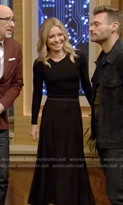 Kelly's black midi skirt on Live with Kelly and Ryan
