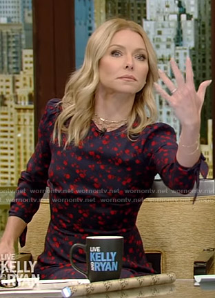Kelly's navy floral slit midi dress on Live with Kelly and Ryan