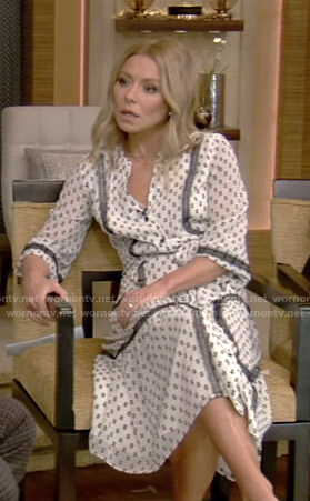 Kelly's white printed dress with black embroidery on Live with Kelly and Ryan