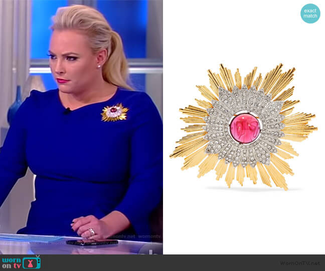 Gold and silver-tone crystal brooch by Kenneth Jay Lane worn by Meghan McCain  on The View