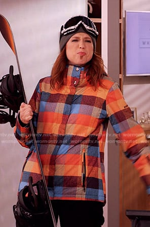 Kimmy's multicolored check snowboard jacket on Unbreakable Kimmy Schmidt