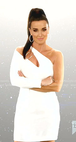Kyle's white one-shoulder cut scene dress on The Real Housewives of Beverly Hills