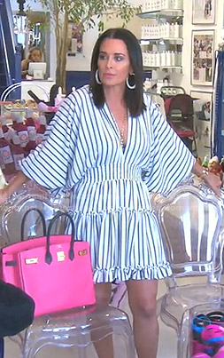 Kyle's white striped v-neck mini dress on The Real Housewives of Beverly Hills