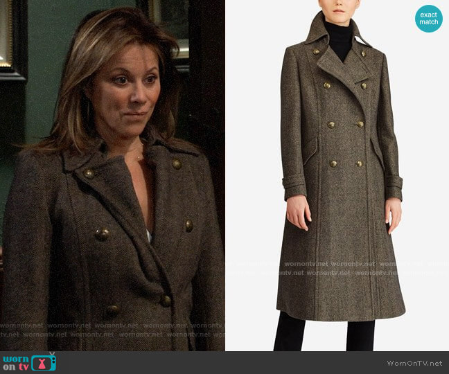 LAUREN Ralph Lauren Double-Breasted Herringbone Coat worn by Alexis Davis (Nancy Lee Grahn) on General Hospital