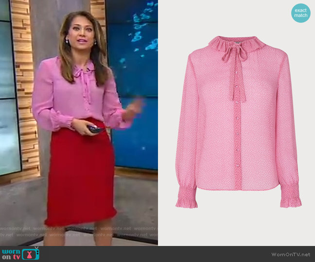 Eliza Blouse by LK Bennett worn by Ginger Zee  on Good Morning America