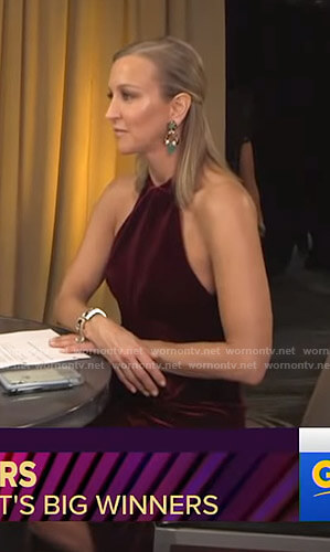 Lara's red velvet halter dress on Good Morning America Oscars After Party