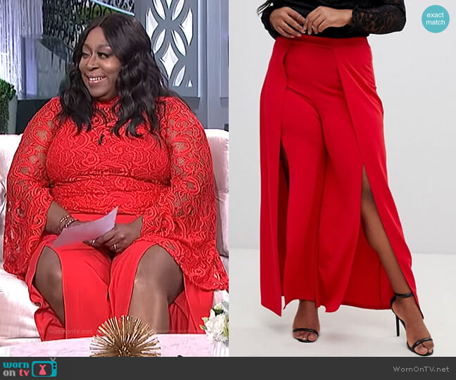 Front Split Tailored Pants by Lasula Plus worn by Loni Love  on The Real