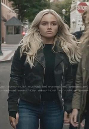 Lauren's camo moto jacket on The Gifted