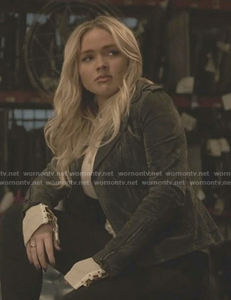 Lauren's lace-up cuff top and peplum suede moto jacket on The Gifted