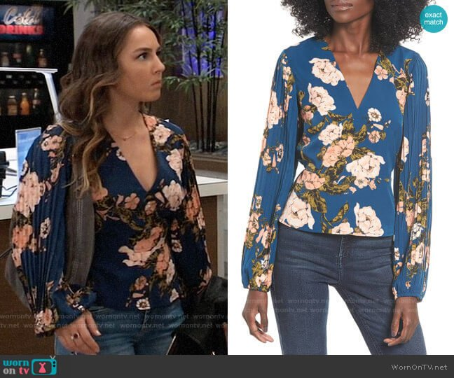 Leith Pleated Sleeve Blouse worn by Kristina Corinthos (Lexi Ainsworth) on General Hospital