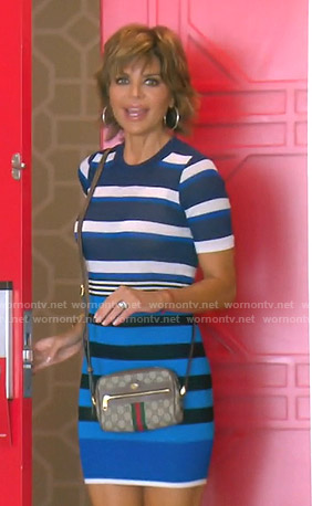 Lisa's blue striped mini dress on The Real Housewives of Beverly Hills