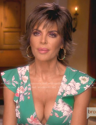 Lisa's green floral flutter sleeve dress on The Real Housewives of Beverly Hills