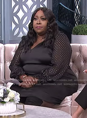 Loni's black metallic dotted sleeve dress on The Real