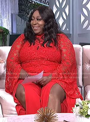 Loni's red mock neck lace top and split pants on The Real