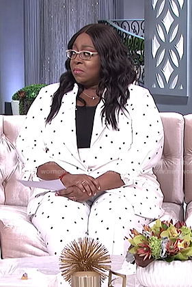 Loni's white polka dot suit on The Real