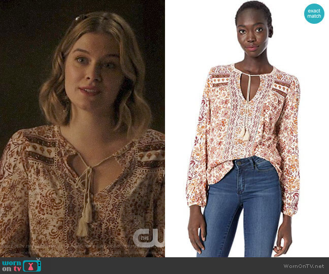 Lucky Brand Printed Peasant Top worn by Polly Cooper (Tiera Skovbye) on Riverdale
