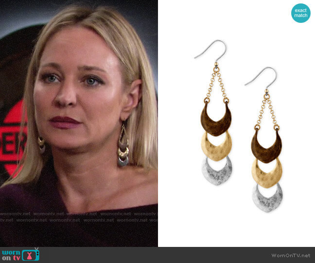 Lucky Brand Tri-Tone Triple Drop Earrings worn by Sharon Collins (Sharon Case) on The Young & the Restless